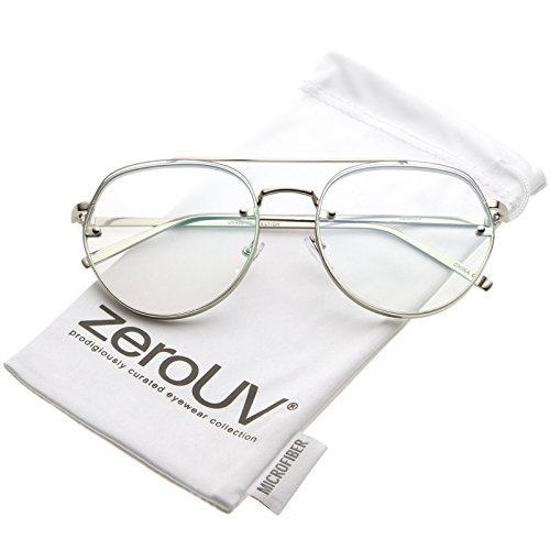 zeroUV - Modern Slim Brow Bar Rimless Clear Round Flat Lens Aviator Eyeglasses 59mm (Silver / Clear - Eyeglasses Rimless Aviator