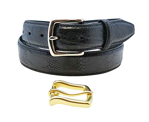 (Size 38 Black Genuine Ostrich Leg Belt in 1.25 inches or 32mm Wide with Gold and Silver Buckles Included Factory Direct Made in USA by Real Leather Creations FBA1312)