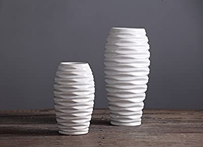 D'vine Dev 8 Inches White Ceramic Vase Wave Design Hand Glazed, Ideal for Fresh Bouquets, Floral Arrangement, Everyday Home Decoration Vase and Special Events - Gift Box Packaged