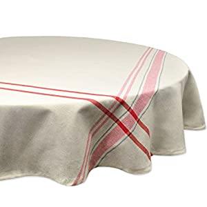 """DII 100% Cotton, Machine Washable, Everyday French Stripe Kitchen Tablecloth For Dinner Parties, Summer & Outdoor Picnics - 70"""" Round Seats 4 to 6 People, Red"""