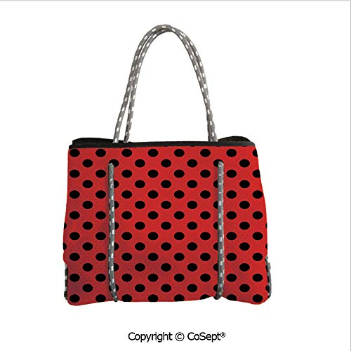 Durable Tote Bag,Retro Vintage Pop Art Theme Old 60s 50s Rocker Inspired Bold Polka Dots Image,For The Boat,Beach or Pool (14.9
