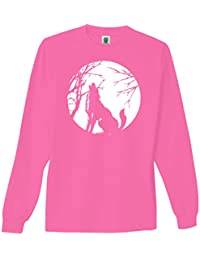Wolf Howling At the Moon Bright Neon Adult Long Sleeve T-Shirt