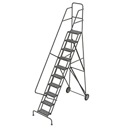 Tri-Arc KDRF110162 10-Step All-Terrain Roll and Fold Steel Industrial & Warehouse Ladder with Grip Strut Trea