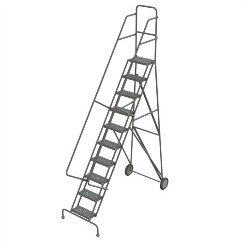 Step Rolling Safety Ladder - Tri-Arc KDRF110162 10-Step All-Terrain Roll and Fold Steel Industrial & Warehouse Ladder with Grip Strut Trea