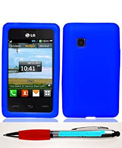 Accessory Factory(TM) Bundle (the item, 2in1 Stylus Point Pen) LG 840G Solid Dr. Blue Silicon Skin Case Cover Protector Soft Silicone Jelly Rubber Phone