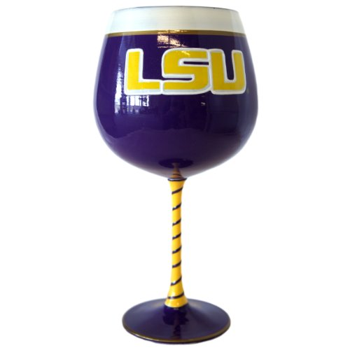 Lsu Painted Wine Glasses