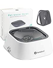 LumoLeaf Dog Water Bowl, Splash-Free Pet Slow Water Feeder Bowl, No Spill Dog Bowl, Vehicle Carried Water Bowl for Dogs Cats Pets, 1 Liter (35OZ Grey Double Floating Disk)