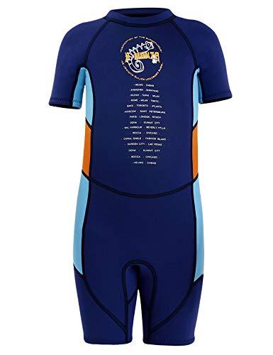 Echinodon Zwempak voor jongens, uv-bescherming, UPF 50+ korte mouwen, badpak voor baby's, kinderen, wetsuit