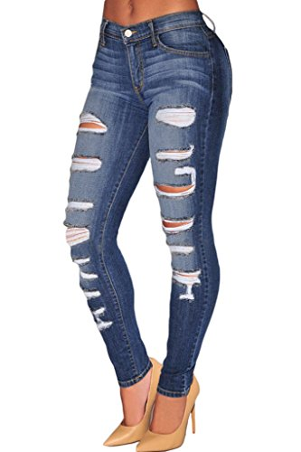 Sidefeel Women Denim Destroyed Whisker Wash Skinny Jeans Medium Blue