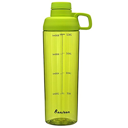 32 Ounce Water Bottle With Handle Wide Mouth Sports Bottle BPA Free Phthalate-free Twist Lid Water Bottle With Handle Leak Proof Made By Food Grade Tritan-Green