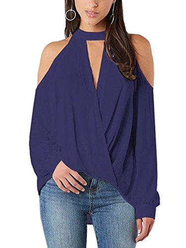 YOINS Women Blouse Crossed Front Design Cold Shoulder V-neck Lantern Sleeves Top