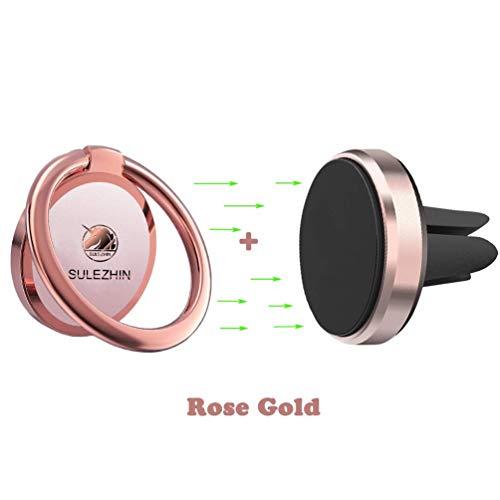 Phone Ring Holder Finger Kickstand 360° Rotation Metal Ring Grip with Magnetic Phone Car Mount Holder for Car Air Vent Magnetic Mount car Phone Holder Set (Rose Gold)