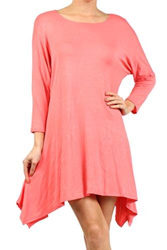 2LUV Plus Women's Dolman Sleeve Asymmetric Knit Tunic Dress – X-Large, Coral