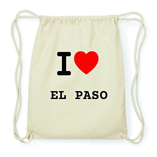 JOllify EL PASO Hipster Turnbeutel Tasche Rucksack aus Baumwolle - Farbe: natur Design: I love- Ich liebe