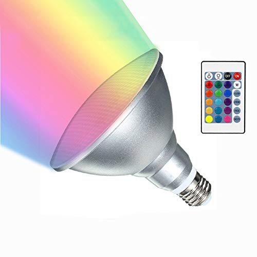 - RAYWAY Par38 LED RGB Spotlight Bulb Outdoor, 20W Waterproof Dimmable Color Changing LED Lawn Lamp E26 Floodlight with Remote for Holiday Party Courtyard Decor