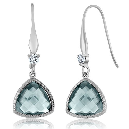 5.75 Ctw 12MM Trillion Checkerboard Simulated Aquamarine 925 Sterling Silver Dangle Earrings For Women (Trillion Earrings Solid)