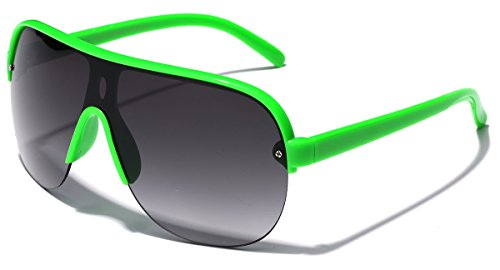 Oversized Flat Top Aviator Sunglasses Shield Men's Women's Retro 80's Vintage Glasses (Green, Smoke) ()