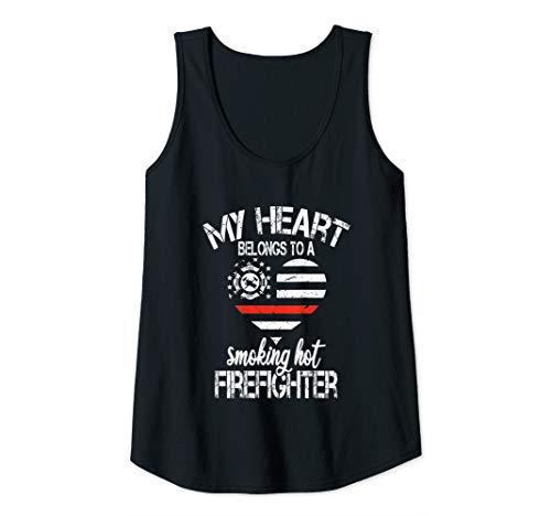 Womens My heart belongs to a smoking hot firefighter Red line Flag Tank Top (My Heart Belongs To A Firefighter Shirt)