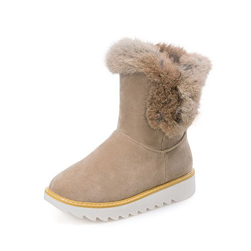Allhqfashion Mujeres Solid Flock Low-heels Pull-on Round Cerrado Botas De Nieve Albaricoque