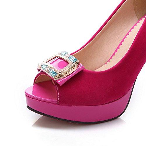 Adee Mujer Brillantes high-heels esmerilado Sandalias Rojo - rosa/rojo
