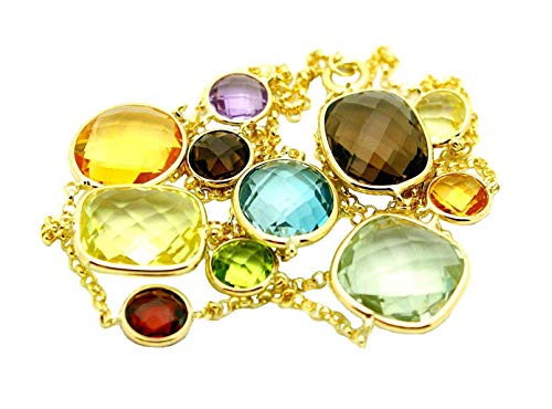 14K Yellow Gold Necklace with Multi Shape Gemstones 24 Inches