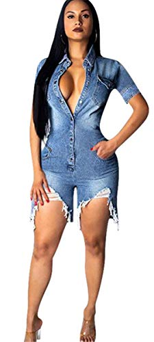 Hotheart Women's Long Sleeve Lapel Button Pockets Bodycon Shorts Sexy Nightclub Party Denim Jumpsuit Rompers (M, Short Sleeve)