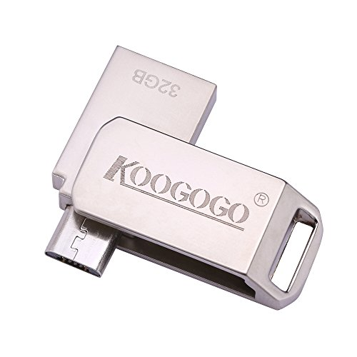 KOOGOGO Android Flash Drive 2-in-1 USB 2.0 Micro USB OTG Disk, Metal Key Swivel Thumb Drive Memory Stick for Android Smartphones, Tablets and Computers (32GB)