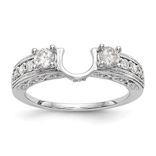Set Ring Engagment Diamond - 14k White Gold Diamond Wrap Size 7.00 Ring Engagement Guard Bridal Fine Jewelry For Women Gift Set