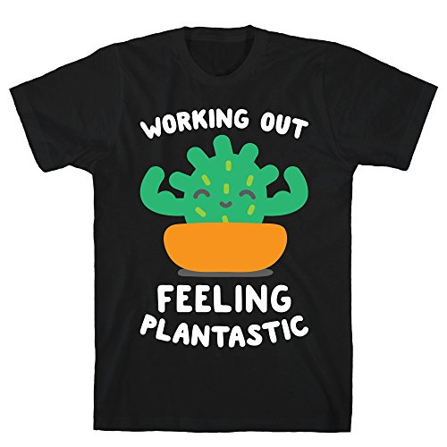 2f7c6bb4f LookHUMAN Working Out Feeling Plantastic XL Black Men's Cotton Tee