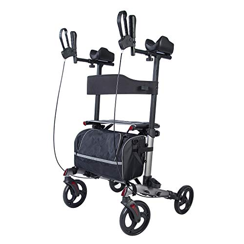 ELENKER Upright Walker,Stand Up Folding Rollator Walker Back Erect Rolling Mobility Walking Aid with Backrest Seat and Padded Armrests for Seniors and Adults,Silver