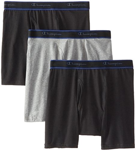 Champion Men's 3 Pack Performance Cotton Regular Leg Boxer Briefs, Assorted, Large (Champion Active Boxer Briefs compare prices)