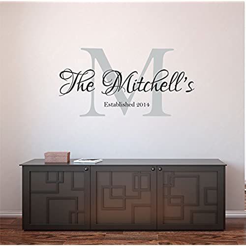 Custom family name wall decal personalized name wall sticker custom name wall sign monogram stencil
