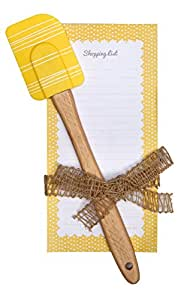 C.R. Gibson QKG2-14195 Magnetic List Pad and Spatula Gift Set, Yellow