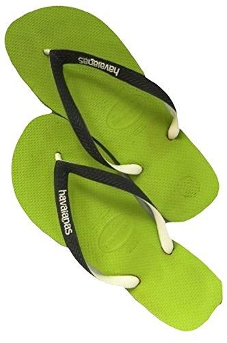Havaianas Uomo Brasile Logo Sandalo Verde Lime / Grigio, Verde Lime / Grigio, 45/46