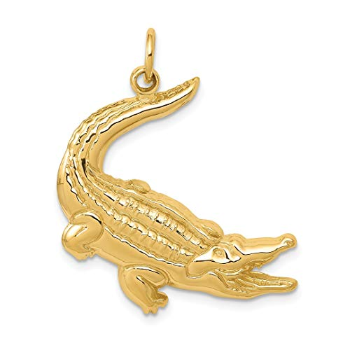 Alligator Charm Gold 14k - 14k Yellow Gold Alligator Pendant Charm Necklace Animal Crocodile Sea Life Man Fine Jewelry Gift For Dad Mens For Him