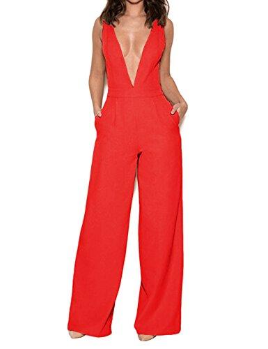 UONBOX Women's Sleeveless Elegant Deep V and Wide Leg Ladder Back Jumpsuit (S, Red)