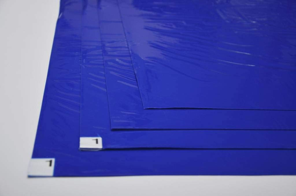 10 mats/Box, 30 Layers per Pad, 18'' x 36'', 4.5 C Blue Sticky mat, Cleanroom Tacky Mats/PVC Sticky Mats/Adhesive Pads, Used for Floor (for Home/Laboratories/Medical Offices use) by Cleanmo (Image #1)