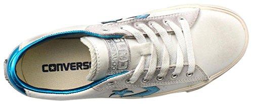 Converse Pro Leather Vulc Ox, Sandalias con Plataforma Unisex Adulto Blanco (White/Spaint Blue/Turtledove)