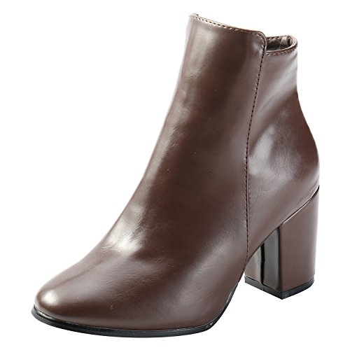 add22d339947 Alexis Leroy Damen Klassic Knöchelhohe Stiefeletten Chelsea Ankle Boots mit  Absatz Braun