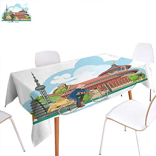 familytaste Ancient China Washable Tablecloth Chinese Elements Traditional Architecture and Costumes Behind a Cycling Man Waterproof Tablecloths 60