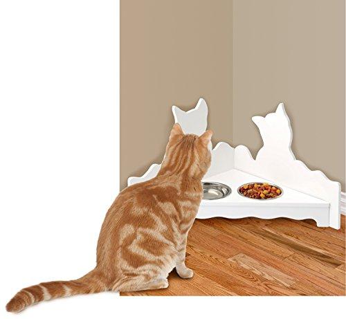 Wood Feeder Cat - Corner Kitty Wood Feeder Set White