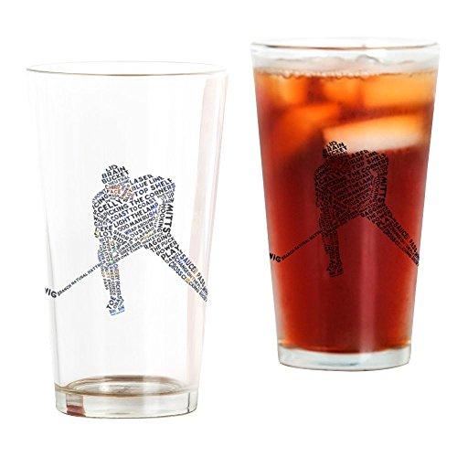 CafePress Hockey Player Typography Pint Glass, 16 oz. Drinking Glass