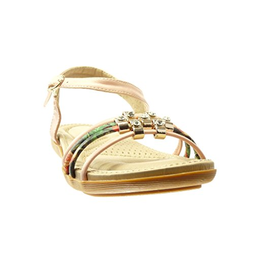 cm Chaussure Sandale Strass Lanière Femme 2 Angkorly Mode Rose Fleurs Diamant Talon Plat HPx6Sxq