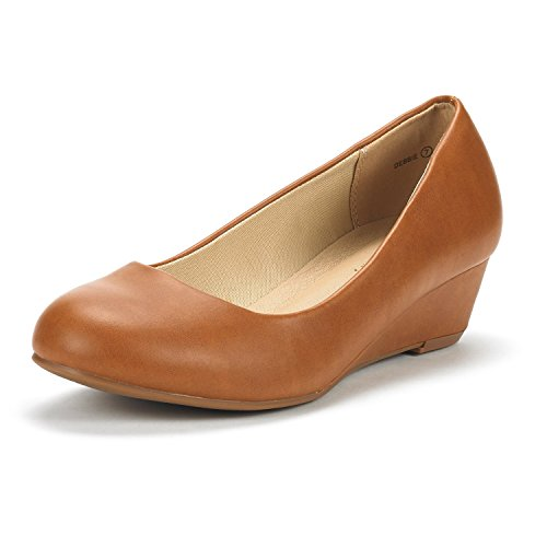 DREAM PAIRS Women's Debbie Tan Pu Mid Wedge Heel Pump Shoes - 10 M US