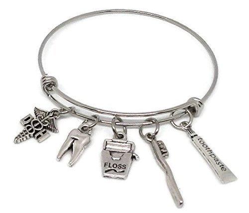Dental Hygienist Stainless Steel Charm Bracelet - Graduation Gift Dental Hygienist - DH Jewelry