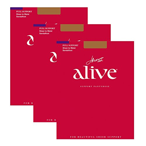 Hanes Women`s Set of 3 Alive Sheer to Waist Pantyhose - Best-Seller! F, South Pacific