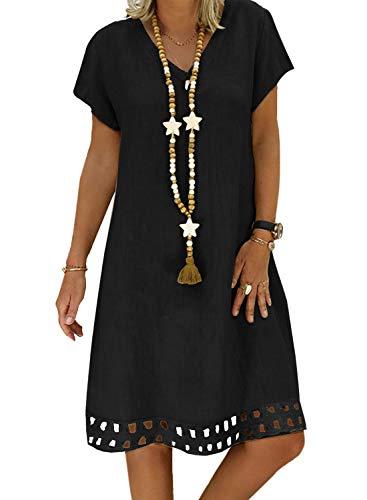 ROSKIKI Womens Casual Beach Short Sleeve Sundresses Knee Length V Neck Loose Fit Hollowed A Line Cute Summer Shift Dresses Black XL