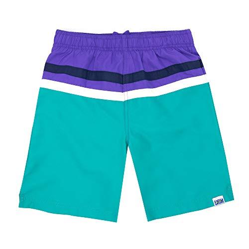(LAGUNA Vintage Boys Color Block Solid Stripe Volley Boardshorts Swim Trunks, UPF 50+, Teal/Purple, 18/20)