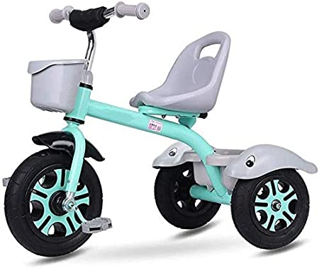 WLD Bicicleta para niños, Triciclo para niños Triciclo para niños Bicicleta portátil Cochecito de bebé Juguetes para montar Juguetes de pasajeros salientes Lo mejor para regalos,Verde