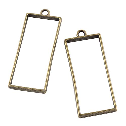 PH PandaHall 100Pcs Alloy Open Back Bezel Pendants Rectangle Charms Pendants for DIY Resin Pressed Flower Crafts Jewelry Making (Antique Bronze)